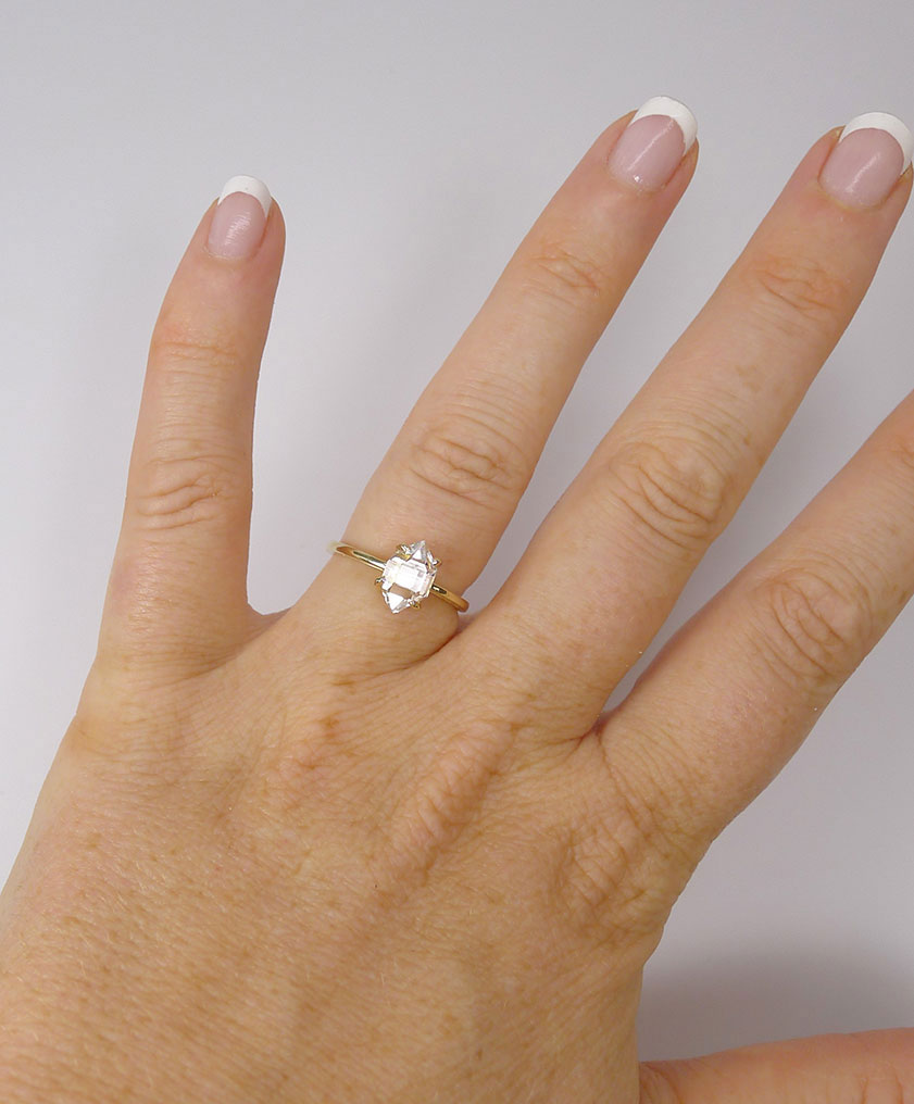 Raw Crystal Yellow Gold Ring Herkimer Diamond Direct From