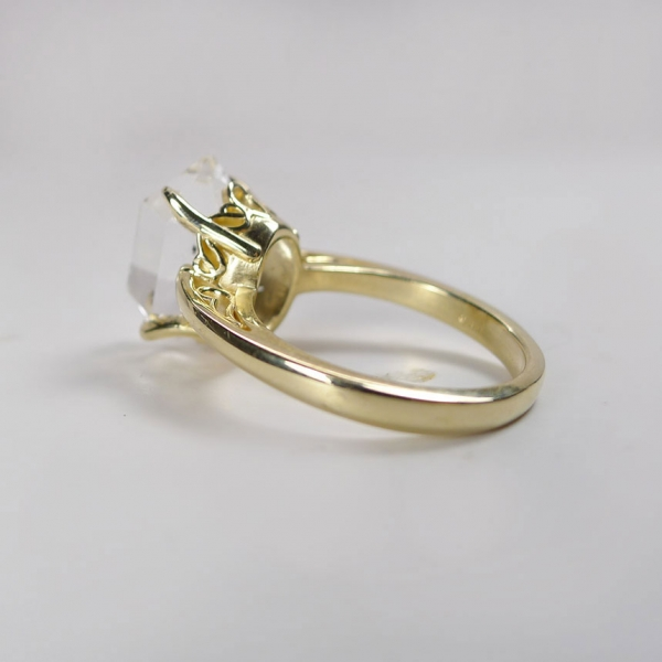 Raw Crystal Gold Ring Herkimer Diamond