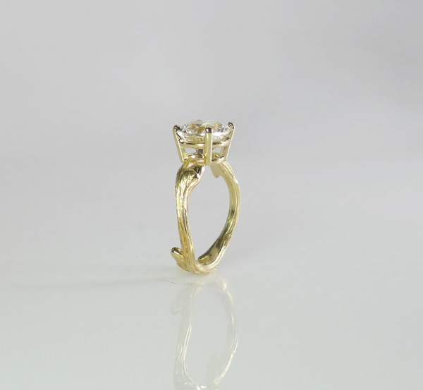 Gold Tree Branch Engagement Ring