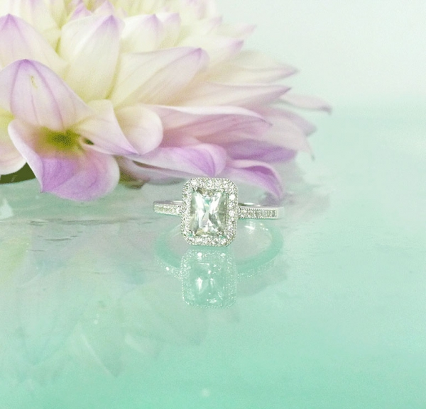 Antique Style Emerald Cut Engagement Ring