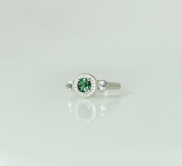 Green Tourmaline Halo Ring