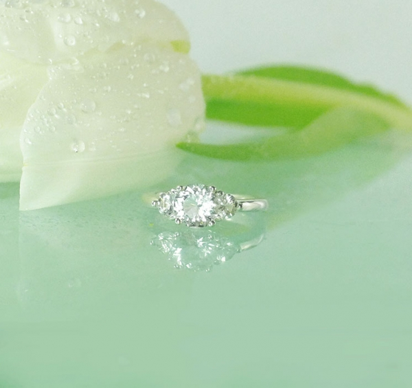 Three Stone Sterling Silver Ring