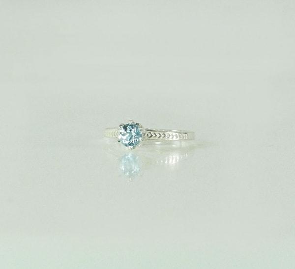 Aquamarine Solitaire Silver Ring