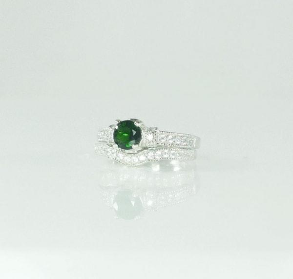 Green Tourmaline Wedding Set