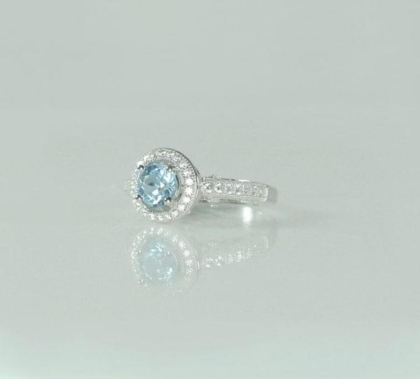 Aquamarine Halo Ring