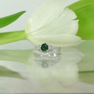 Green Tourmaline Wedding Set
