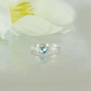 Aquamarine Solitaire Silver Ring