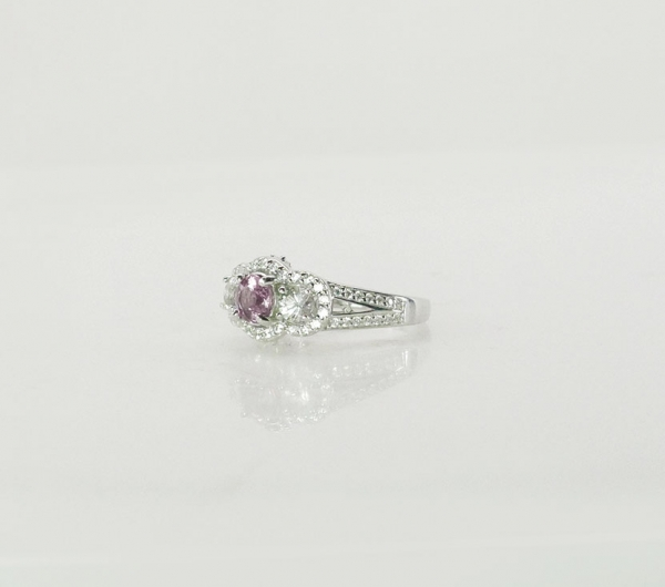 Pink Zircon Halo Ring