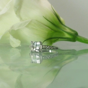 Princess Cut Herkimer Diamond Ring