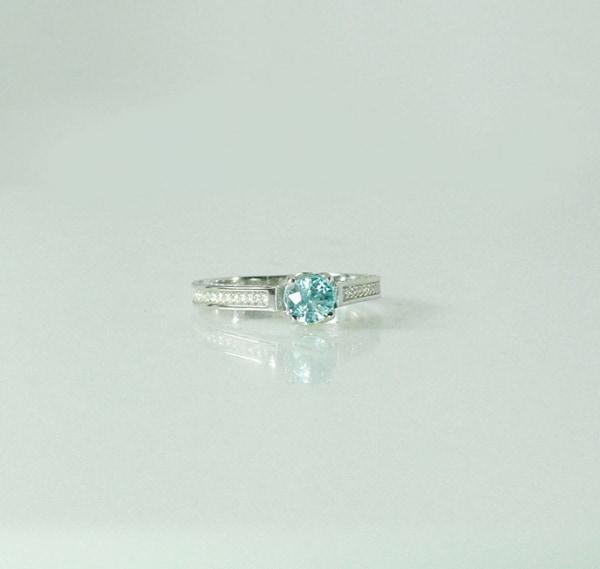 Blue Zircon Silver Ring