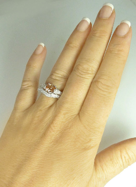 Tourmaline Silver Wedding Set