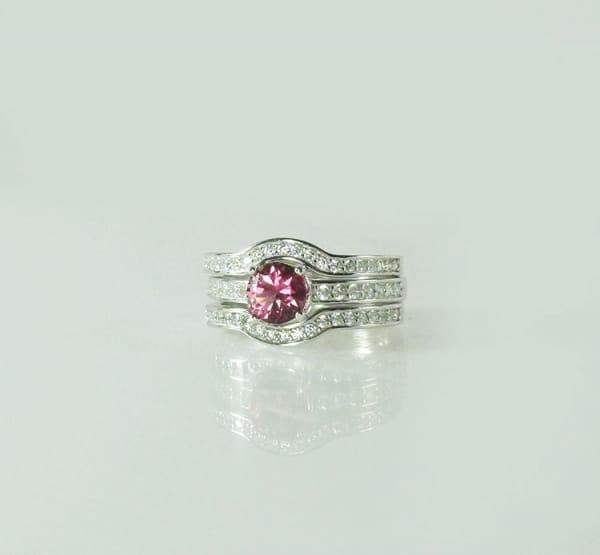 Pink Zircon Wedding Set