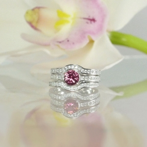 Pink Zircon Wedding Set