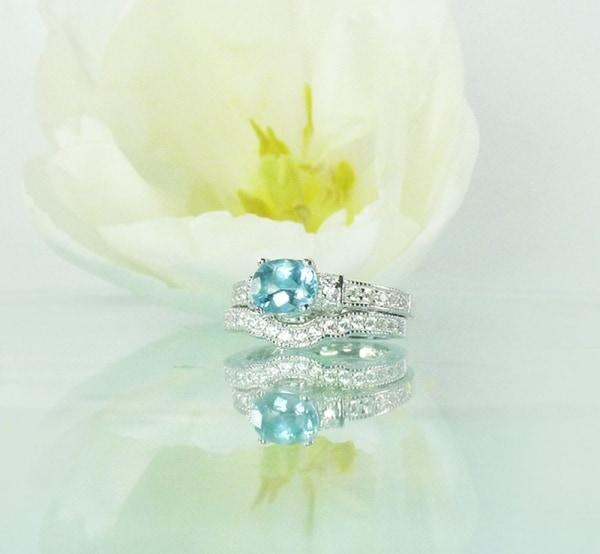 Blue Topaz Wedding Set