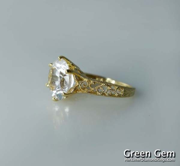 Herkimer Diamond Yellow Gold Ring