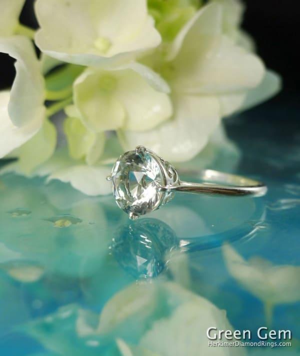 Herkimer Diamond Brilliant Cut Solitaire Ring
