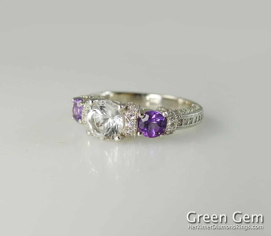 Sparkling Amethyst /& Himalayan Herkimer Diamond Earrings