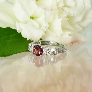 Garnet Ring Herkimer Diamond Accents