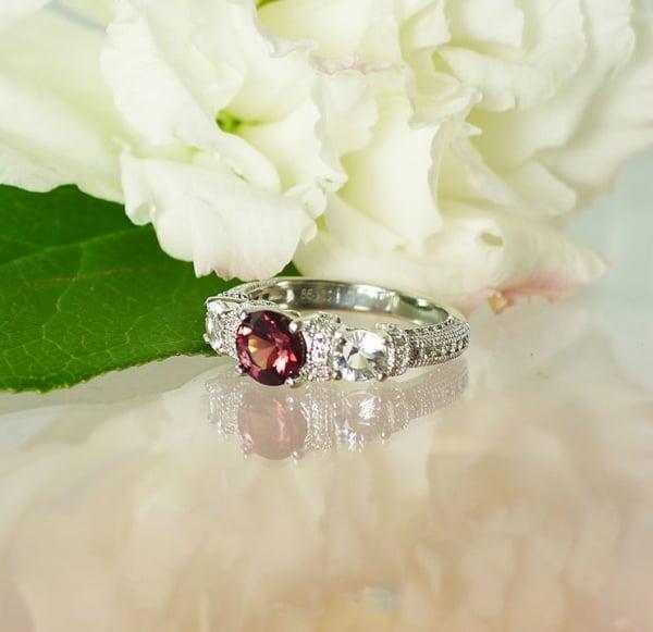 Garnet Ring Herkimer Diamond Accents