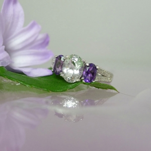 Herkimer Diamond Ring Amethyst Accents