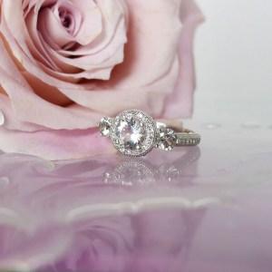 Herkimer Diamond Three Stone Ring