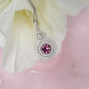 Pink Tourmaline Herkimer Diamond Pendant