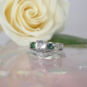 Herkimer Diamond Tourmaline Wedding Set