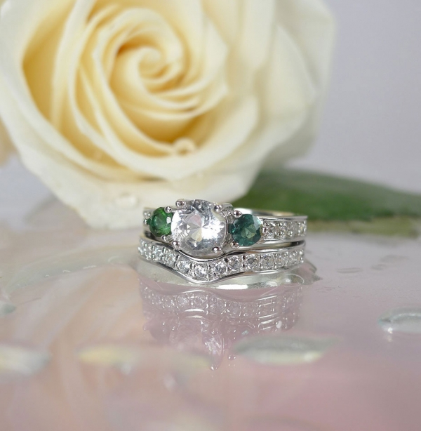 Herkimer Diamond Tourmaline Wedding Set