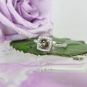 Smokey Zircon Halo Ring