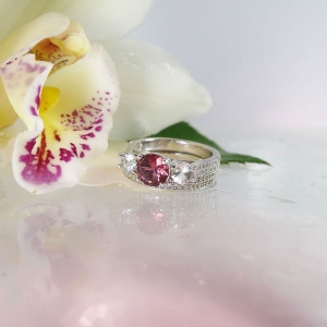 Natural Pink Tourmaline Wedding Set