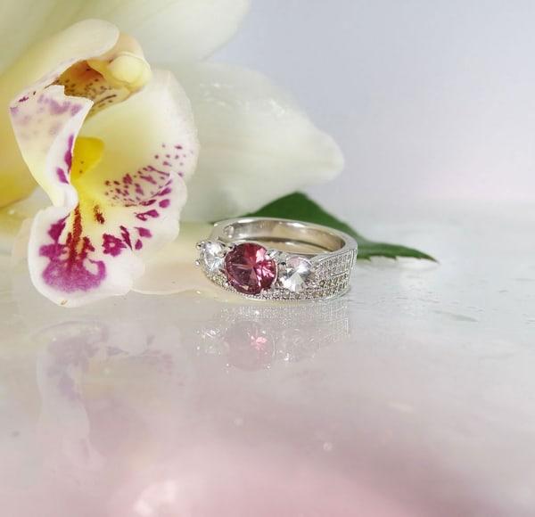 Natural Pink Tourmaline Wedding Set