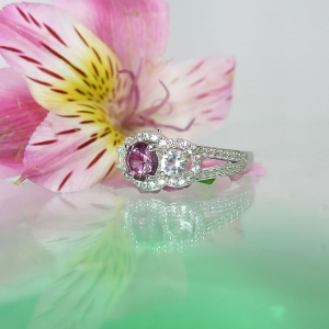 Pink Tourmaline Ring Herkimer Diamond Accents