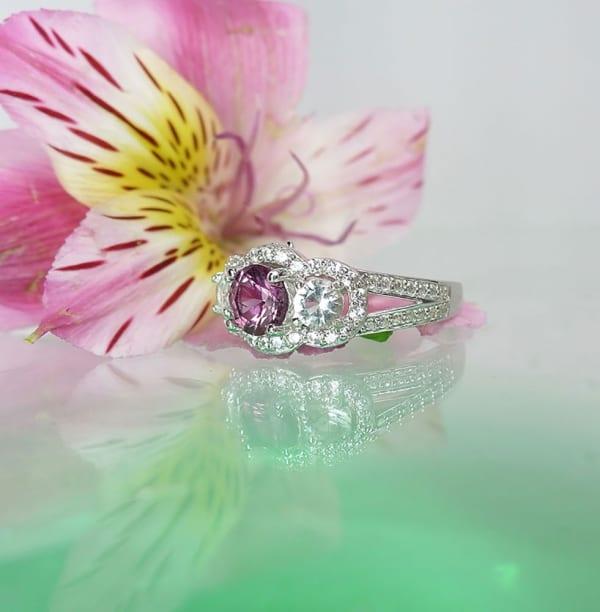 Pink Tourmaline Ring Herkimer Diamond Accents