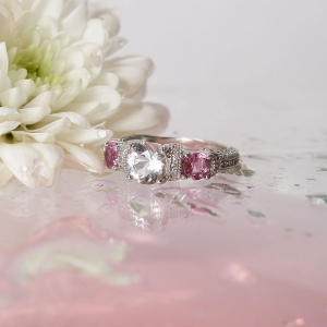 Herkimer Diamond Pink Tourmaline Ring