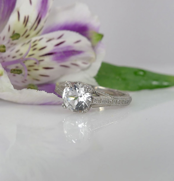 White Topaz Ring Sterling Silver