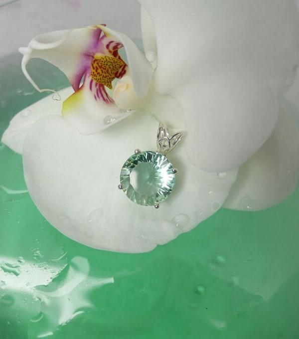 Green Fluorite Pendant Sterling Silver