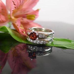 Red Garnet Silver Ring Set