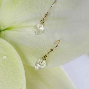 Herkimer Diamond Raw Crystal Earrings 14k Gold