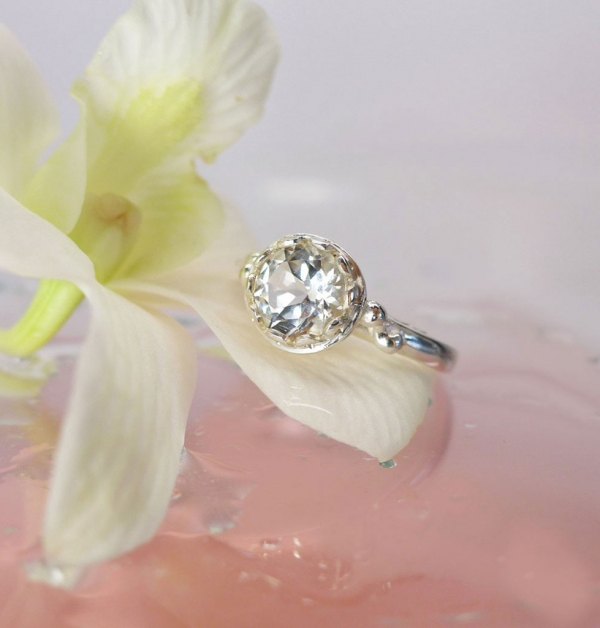 White Topaz Solitaire Ring