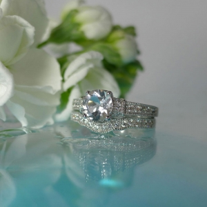 White Topaz Antique Style Wedding Set