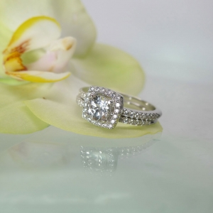 White Topaz Wedding Set Sterling Silver