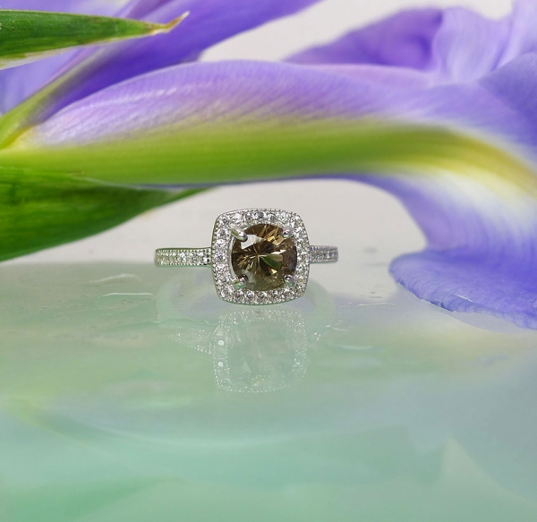 Halo Sterling Ring Herkimer Diamond