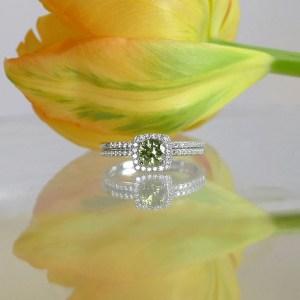 Green Tourmaline Halo Wedding Set
