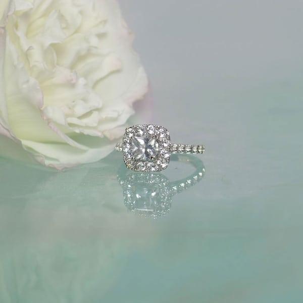 Herkimer Diamond Halo Engagement Ring