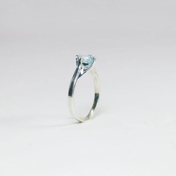 Aquamarine Sterling Ring