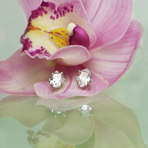 Herkimer Diamond Stud Raw Crystal Earrings