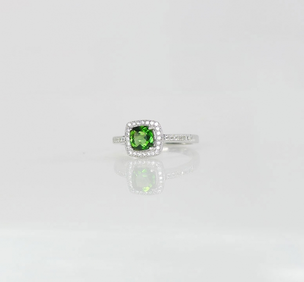 Green Tourmaline Sterling Ring