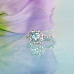 Aquamarine Halo Silver Ring