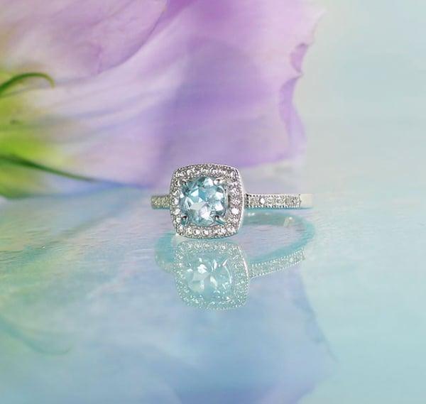 Aquamarine Halo Silver Ring