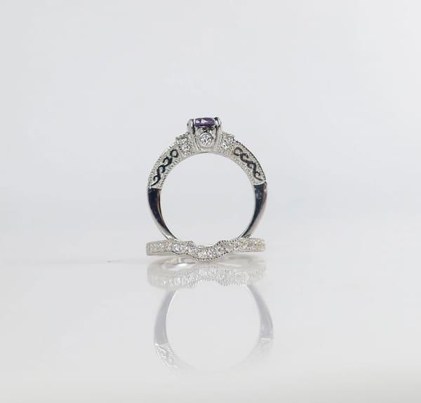 Spinel Wedding Set Sterling Silver